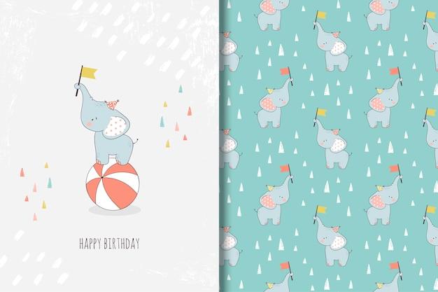 Cartolina d'auguri disegnata a mano del piccolo elefante e modello senza cuciture Vettore Premium