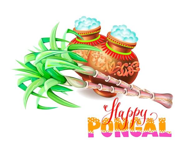 Cartolina d'auguri felice del pongal al festival del raccolto indiano del sud Vettore Premium