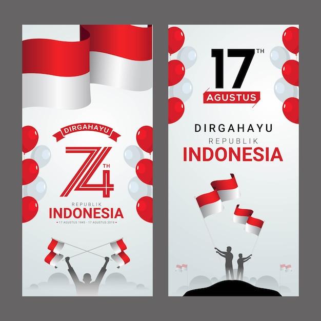 Cartolina d'auguri felice dell'indipendenza dell'indonesia Vettore Premium
