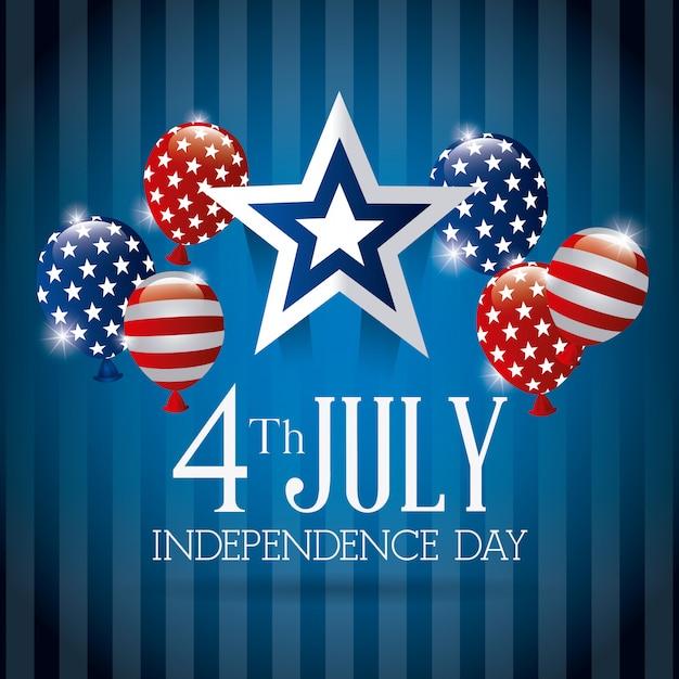 Cartolina d'auguri felice di festa dell'indipendenza, il 4 luglio, progettazione di usa Vettore gratuito