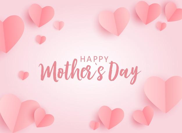 Cartolina d'auguri felice di festa della mamma con il fondo di carta hes di origami. illustrazione Vettore Premium
