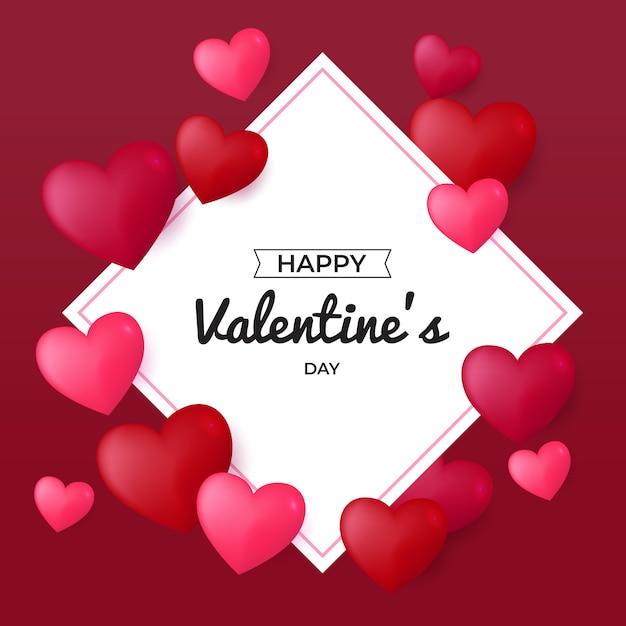 Cartolina d'auguri felice di san valentino Vettore Premium