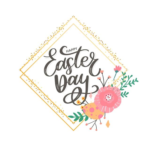 Cartolina d'auguri felice variopinta di pasqua con le uova dei fiori e la composizione negli elementi del coniglio. Vettore Premium
