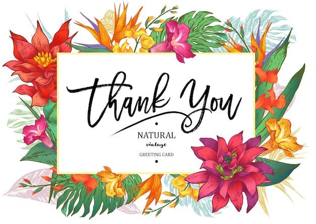 Cartolina d'auguri floreale d'annata tropicale di estate Vettore Premium