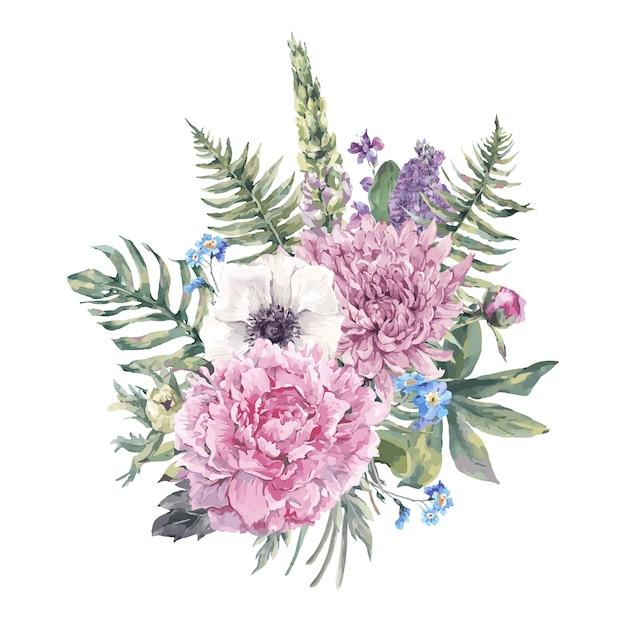 Cartolina d'auguri floreale dell'annata con anemoni Vettore Premium