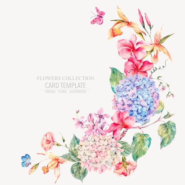 Cartolina d'auguri floreale dell'annata di vettore con ortensie, orchidee Vettore Premium