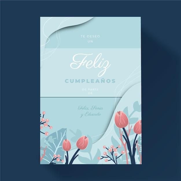 Cartolina d'auguri floreale di buon compleanno Vettore gratuito