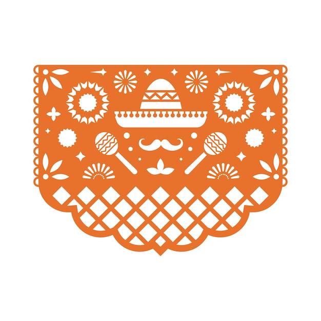 Cartolina d'auguri messicana di papel picado con motivo floreale. Vettore Premium