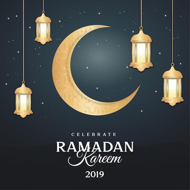 Cartolina d'auguri moderna del ramadan con le lampade Vettore gratuito