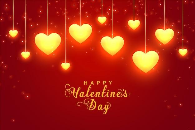 Cartolina d'auguri rossa d'ardore dei cuori di san valentino Vettore gratuito