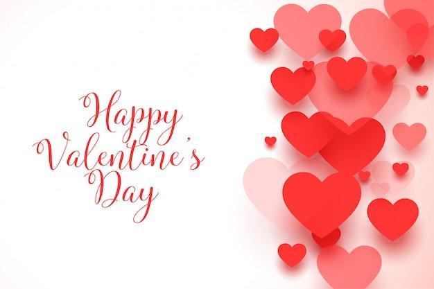 Cartolina d'auguri rossa felice dei cuori di san valentino Vettore gratuito