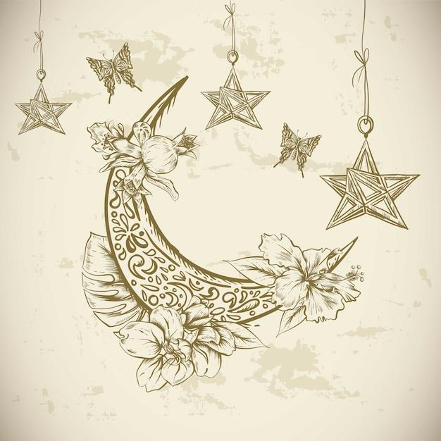 Cartolina d'auguri tradizionale con i fiori, le stelle e la luna arabi, illustrazione disegnata a mano di vettore di ramadan kareem Vettore Premium