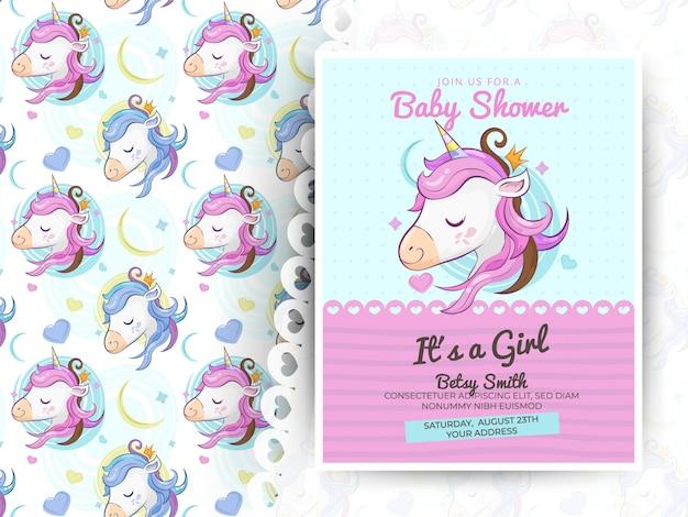 Cartolina d'auguri unicorno carino con motivo Vettore Premium