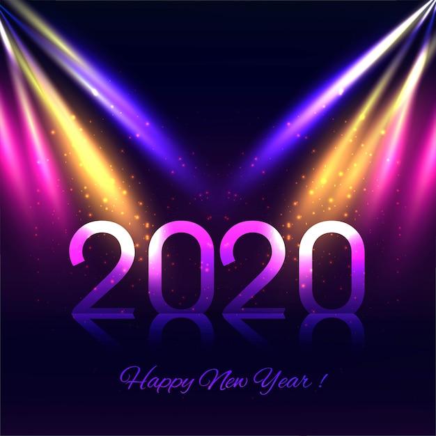 Cartolina d'auguri variopinta astratta di nuovo anno 2020 Vettore gratuito