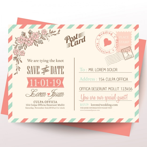 Cartolina d'epoca invito a nozze di sfondo Vettore gratuito