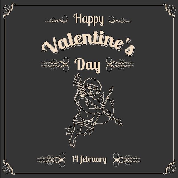 Cartolina d'epoca san valentino con cupido Vettore Premium