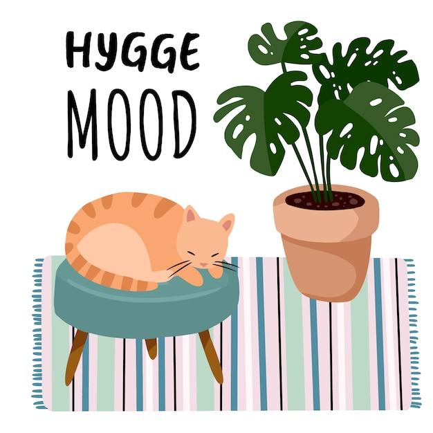 Cartolina d'umore hygge. gatto su uno sgabello in interni in stile scandinavo. decorazioni per la casa. stagione accogliente. comodo appartamento moderno arredato in stile hygge Vettore Premium