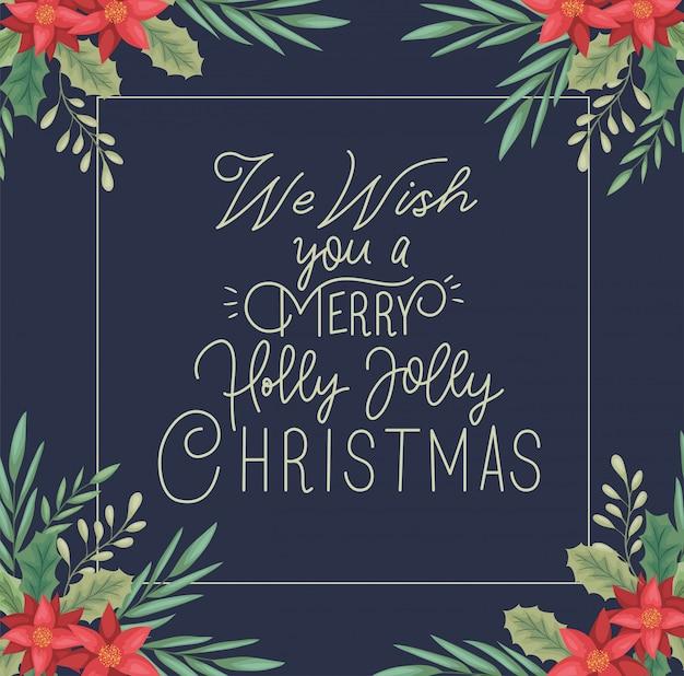 Cartolina di buon natale con decorazione floreale e calligrafia Vettore Premium