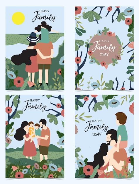 Cartolina di famiglia blu arancione con donne Vettore Premium