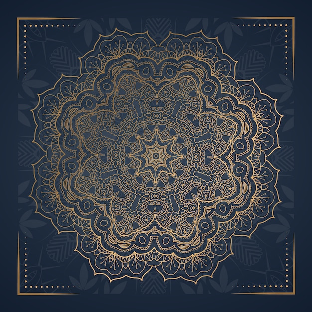 Cartolina di mandala ornamento di lusso Vettore Premium