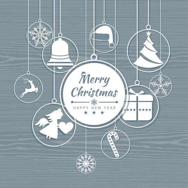 Cartolina di natale allegra con banner icone elemento. sfondo invernale illustrazione vettoriale Vettore Premium