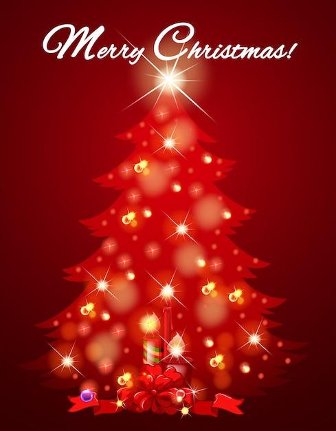 Favorito Cartolina di Natale con albero pieno di luce | Scaricare vettori  NF56