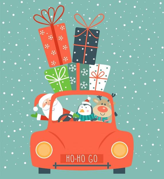 Cartolina di natale con auto e regali. Vettore Premium