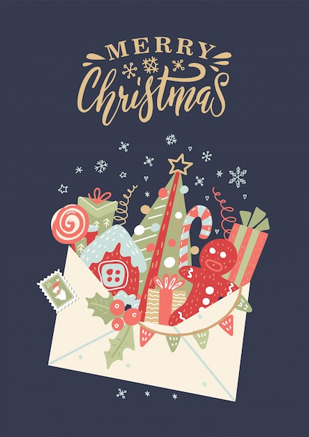 Cartolina di natale con busta aperta con scatole regalo, fiocco, bastoncino di zucchero, albero di natale Vettore Premium