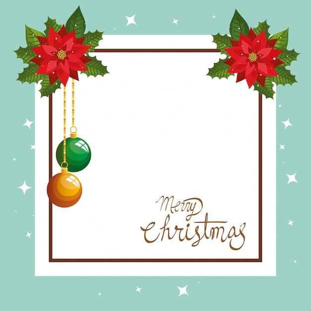 Cartolina di natale con decorazione di fiori e cornice quadrata Vettore gratuito