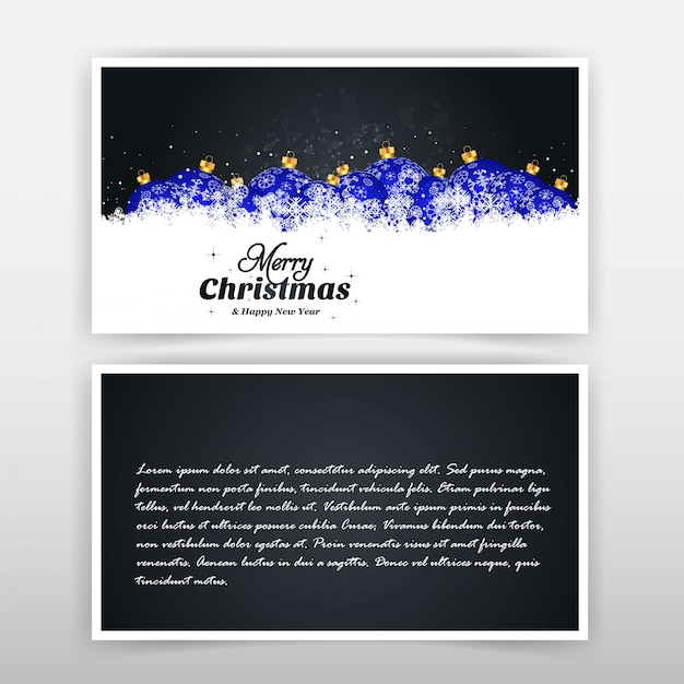 Cartolina di natale con design elegante e sfondo nero v Vettore gratuito