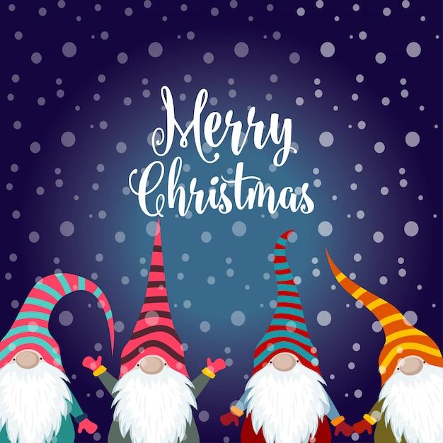 Buon Natale 883.Cartolina Di Natale Con Gnomi Scaricare Vettori Premium