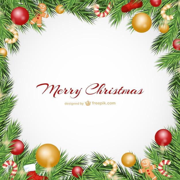 Cornici Di Natale Per Foto Gratis.Cartolina Di Natale Con Palline Scaricare Vettori Gratis