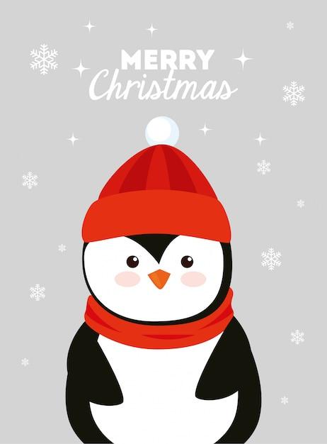 Cartolina di natale con pinguino Vettore gratuito