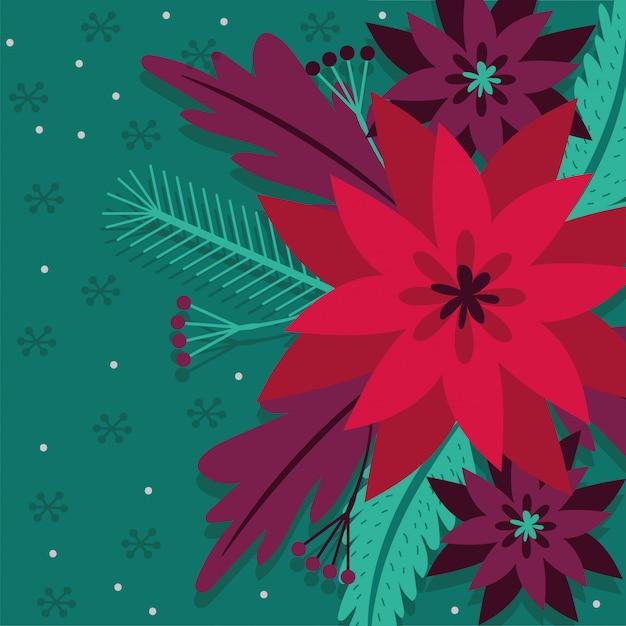 Cartolina di natale con progettazione dell'illustrazione di vettore della decorazione del giardino di fiori Vettore gratuito
