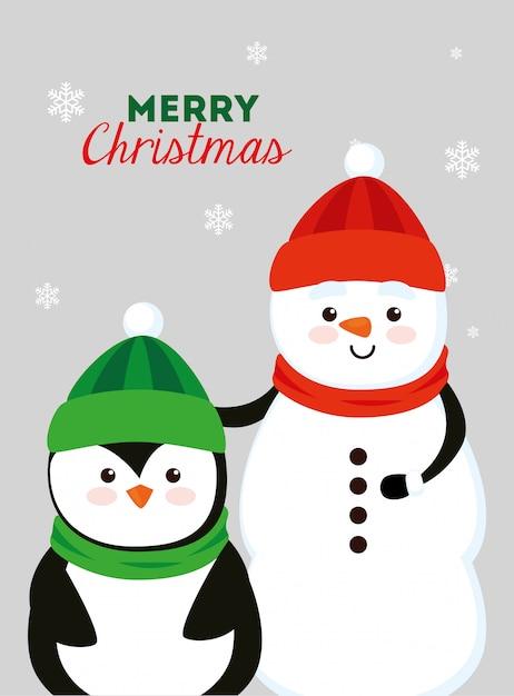 Cartolina di natale con pupazzo di neve e pinguino Vettore gratuito