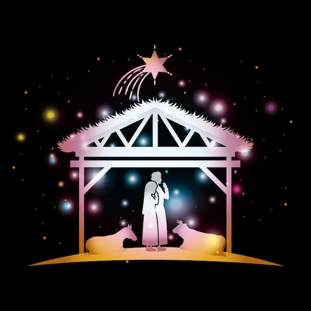 Immagini Di Natale Con Sacra Famiglia.Cartolina Di Natale Con Sacra Famiglia E Animali In Stalla