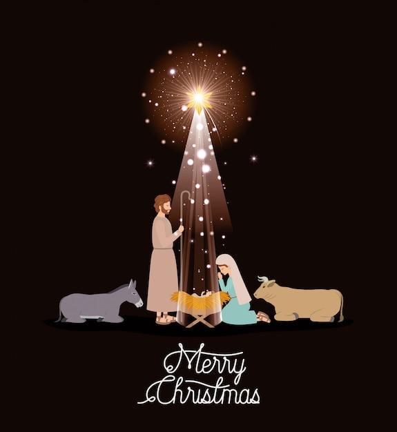 Immagini Sacre Natale.Cartolina Di Natale Con Sacra Famiglia E Animali Scaricare