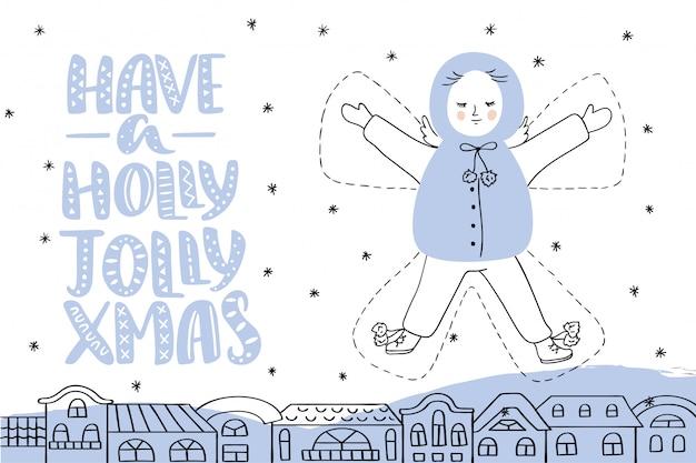 Cartolina di natale con scritte e angelo Vettore Premium