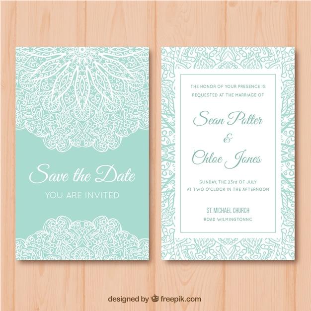 Cartolina di natale verde e bianco con mandala desig Vettore gratuito
