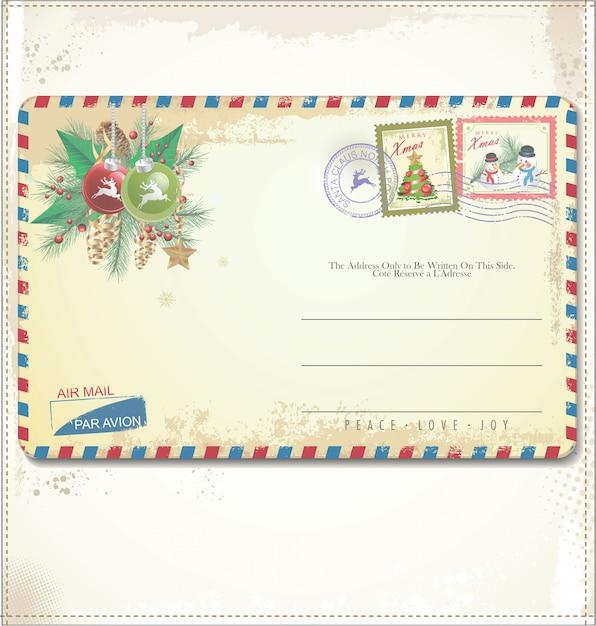 Cartolina di natale vintage Vettore Premium