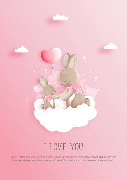 Cartolina di san valentino con 2 simpatici coniglietti, carta per la festa della mamma. Vettore Premium