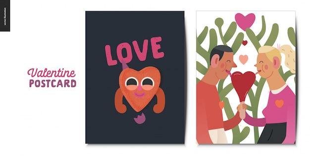 Cartolina di san valentino con coppia in possesso di un cuore rosso Vettore Premium