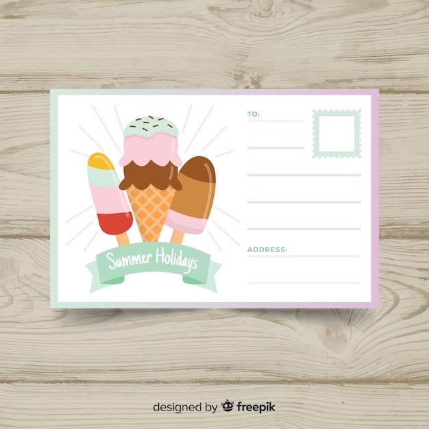 Cartolina di vacanza estiva piatta Vettore gratuito