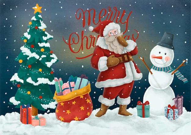 Immagini Gratis Di Buon Natale.Cartolina Disegnata A Mano Di Buon Natale Scaricare