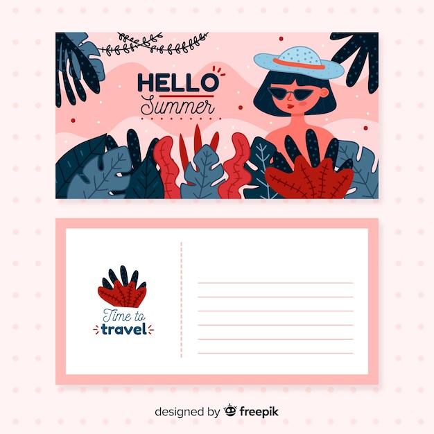 Cartolina disegnata a mano vacanza estiva Vettore gratuito