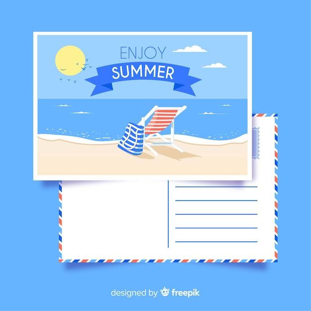 Cartolina estate disegnata a mano a strisce sedia Vettore gratuito