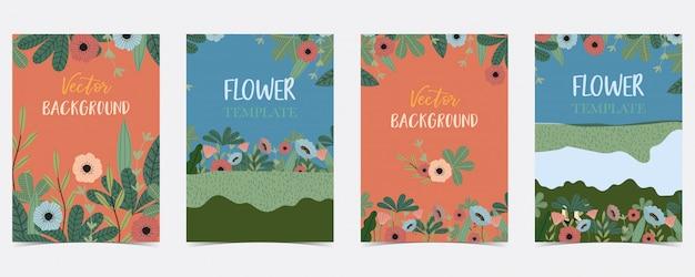 Cartolina estate disegnata a mano blu, arancio, verde con fiori e foglie Vettore Premium