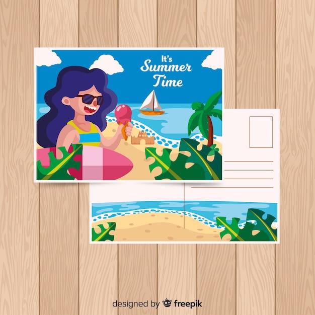 Cartolina estate disegnati a mano ragazza surf Vettore gratuito