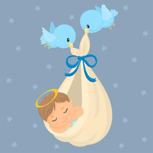 Cartolina per la nascita di un bambino Vettore Premium