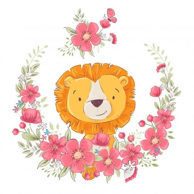 Cartolina poster carino leon piccolo in una corona di fiori. Vettore Premium